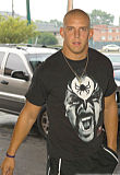 James Laurinaitis walking up to the University Plaza Hotel for check-in Sunday August 5