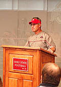 Jim Tressel addresses the media after the scrimmage