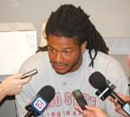 Junior tailback Maurice Wells spoke to the media Tuedsay at the Woody Hayes Athletic Center as the Buckeyes took a break from preseason camp.