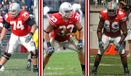 Kirk Barton, James Laurinaitis, and Dionte Johnson were selected by their teammates to serve as this year's captains