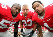 OSU linebackers Curtis Terry, James Laurinaitis and Marcus Freeman