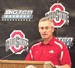 Jim Tressel, Ohio State football head coach speaks at a Big Ten Network luncheon Thursday in Ohio Stadium