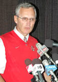 Jim tressel addresses the media after the Buckeyes defeat Washington 33-14