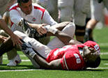 Ohio State's Chris Wells is in obvious pain after injuring his foot during OSU's 43-0 win over Youngstown State on Saturday (August 30, 2008) afternoon in Columbus.