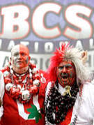 Jon Peters, AKA Big Nut, left, from Fremont, Ohio, and Larry Lokah, AKA Buckeye Man, from Urbana, Ohio, stand outside the the Louisiana Superdome before the BCS Championship game between Ohio State and LSU.
