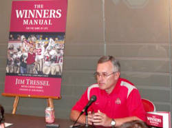 Coach Tressel met with the media Monday at the Les Wexner Football Complex to discuss his new book