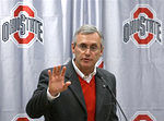 Ohio State football coach Jim Tressel talks to the media during a news conference announcing Ohio State's 2008 football signees.