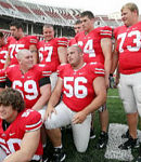 Offensive lineman Justin Boren (56), who transferred from Michigan to the Buckeyes over the summer, will redshirt this season before becoming eligible to play for OSU in the fall of 2009.