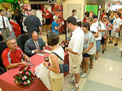 Coach Tressel's book signing tour is drawing large crowds.