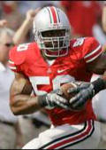 Ohio State defensive lineman Vernon Gholston returns a fumble against Northwestern in September. Heading into Ohio State's showdown for the national title against LSU on Monday, the 6-foot-4, 260-pound junior has tied the record for most sacks in a season by a Buckeye, matching Mike Vrabel's mark of 13.