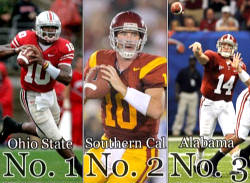 In the annual Tuscaloosa News' Best College Football Rankings Ohio State is No. 1, followed by Southern California, just like 2008.