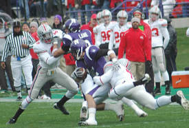 # 7 Jermale Hines takes down Northwestern quarterback Kafka November 8, 2008 (Photo: Steve Helwagen, Bucknuts