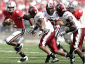 OSU QB Terrelle Pryor vs Troy September 20, 2008: Besides throwing for four touchdowns, Terrelle Pryor gave Ohio State an added running threat, gaining 66 yards.