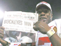 Buckeyes Win! Ohio State Buckeyes Football 2002 National Championship Season in review featuring: 2002 schedule, results and statistics; 2003 Fiesta Bowl featuring game play by play, scoring summary, complete stats and the call, Final NCAA Division I-A ESPN/USA Today Coaches Poll and Final AP Top 25 poll; 2003 Fiesta Bowl Trivia Quiz