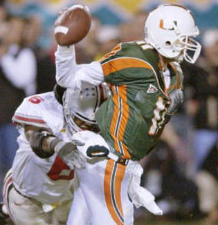 Ohio State's Cie Grant hits Miami's Ken Dorsey on the final play of the 2003 Fiesta Bowl, it was The Final Dagger